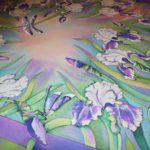 Батик платок «Танец цветов». Шелковый платок ручной работы.