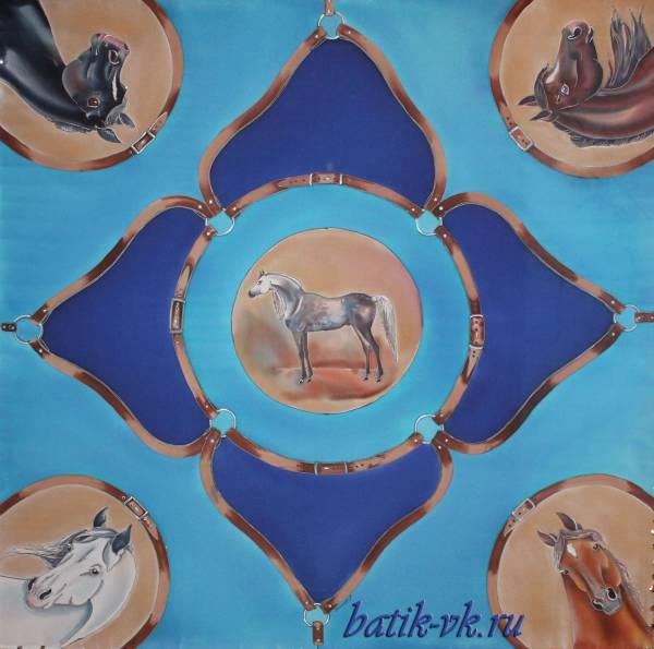 Батик платок «Ах, кони, кони». Шелковый платок ручной работы.