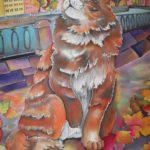 Батик платок «Осенний котик». Шелковый платок ручной работы.