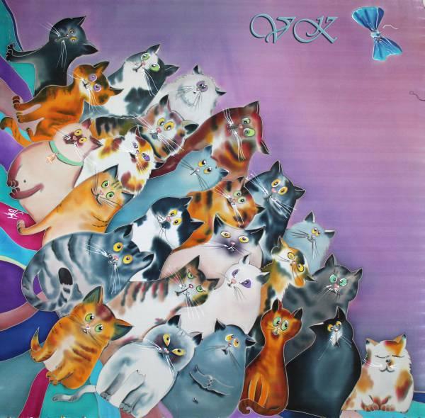 """Батик платок """"Поговорим о кошках"""". Шелковый платок ручной работы."""
