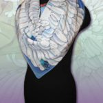 Батик платок «Лебёдушка». Шелковый платок ручной работы.