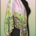 Батик платок «Лягушки». Шелковый платок ручной работы.