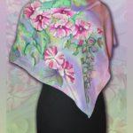 """Батик платок """"Мальвы"""". Шелковый платок ручной работы."""