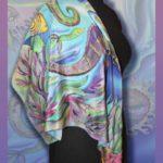 Батик платок «Морские коньки». Шелковый платок ручной работы.