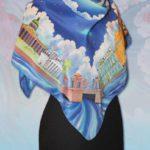 """Батик платок """"На берегах Невы"""". Шелковый платок ручной работы."""