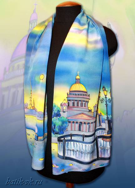 """Батик шарф """"Ночь над Санкт-Петербургом"""". Шелковый шарф ручной работы."""