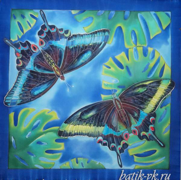 Батик платок «Ночь в тропиках». Шелковый платок ручной работы.