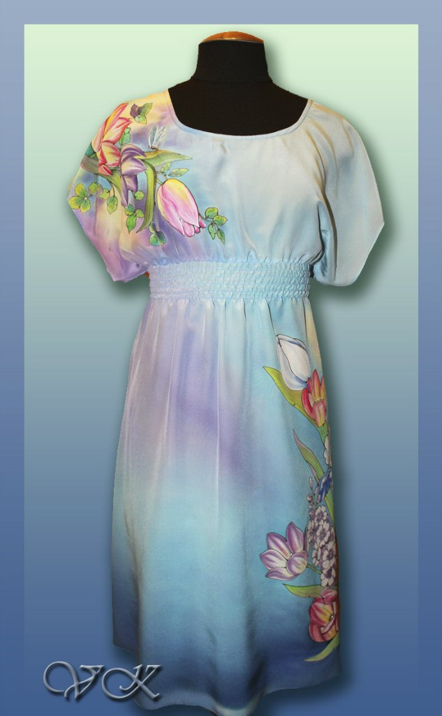 """Батик платье """"Вивальди"""". Шелковое платье с ручной росписью."""