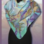 Батик платок «Пейзаж». Шелковый платок ручной работы.