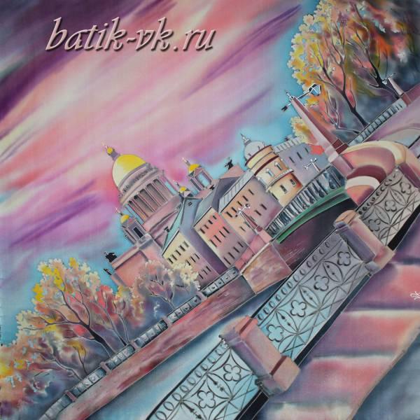 """Батик платок """"Сон о Санкт-Петербурге"""". Шелковый платок ручной работы."""