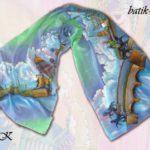 """Батик шарф """"На берегах Невы"""". Шелковый шарф ручной работы."""