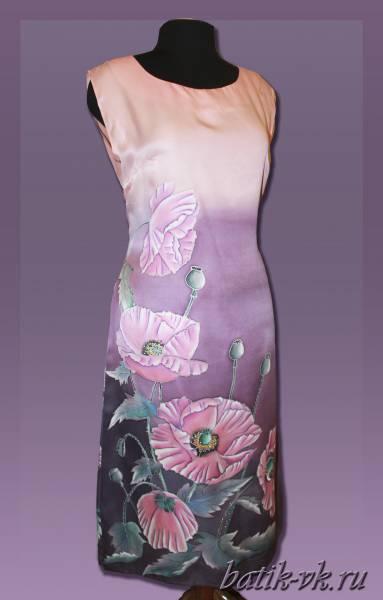 """Батик платье с росписью """"Розовые маки"""". Шелковое платье с ручной росписью."""