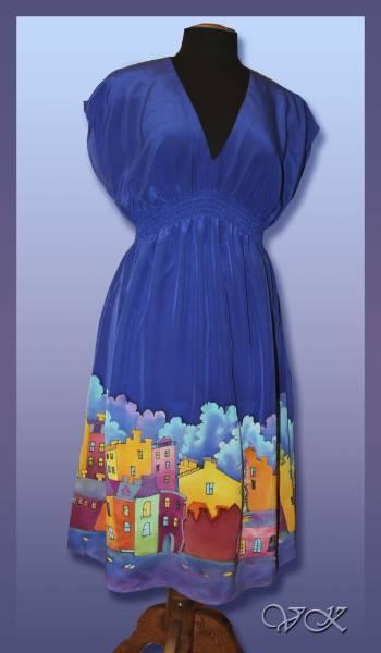 """Батик платье """"Шелковый город"""". Шелковое платье с ручной росписью."""