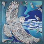 """Батик платок """"Полярная сова"""". Шелковый платок ручной работы."""