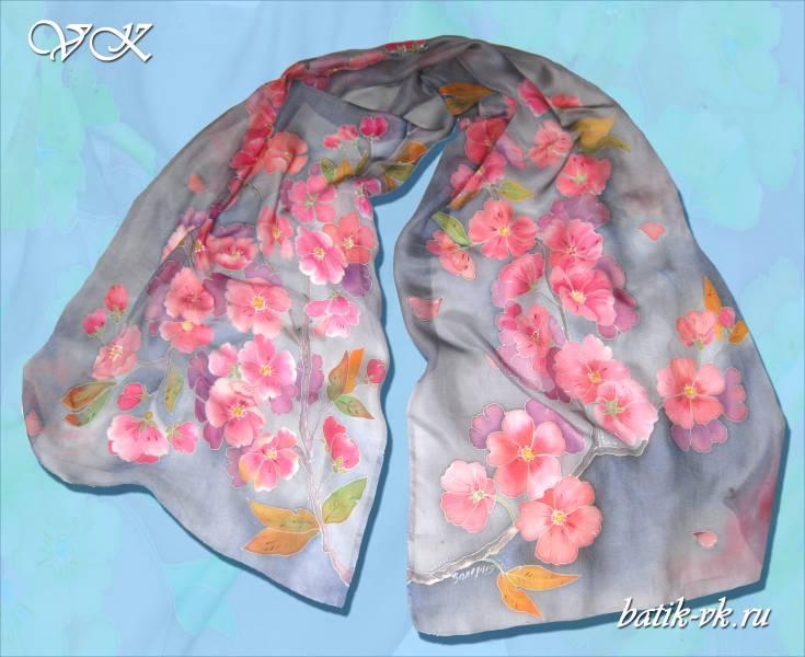 """Батик шарф """"Ветка сакуры"""". Шелковый шарф ручной работы."""