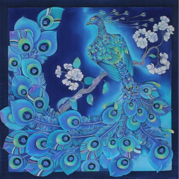 Батик платок «Птица счастья». Шелковый платок ручной работы.