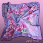 Батик платок «Сиреневые орхидеи». Шелковый платок ручной работы.