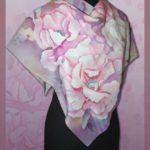 """Батик платок """"Снежные цветы"""". Шелковый платок ручной работы."""