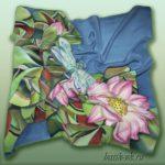 Батик платок «Стрекоза». Шелковый платок ручной работы.