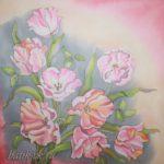 Батик платок «Когда расцветают тюльпаны». Шелковый платок ручной работы.
