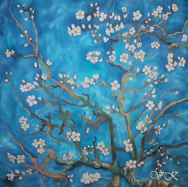 Батик платок «Ван Гог «Цветущие ветки миндаля». Шелковый платок ручной работы.