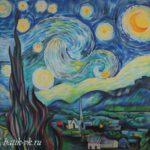 Батик платок «Ван Гог «Звездная ночь». Шелковый платок ручной работы.