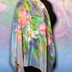 Батик платок «Цветы в вазе». Шелковый платок ручной работы.
