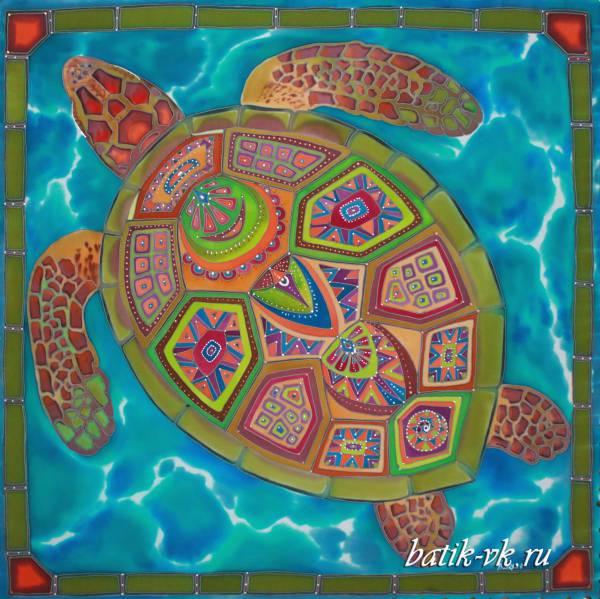 Батик платок «Черепаха». Шелковый платок ручной работы.