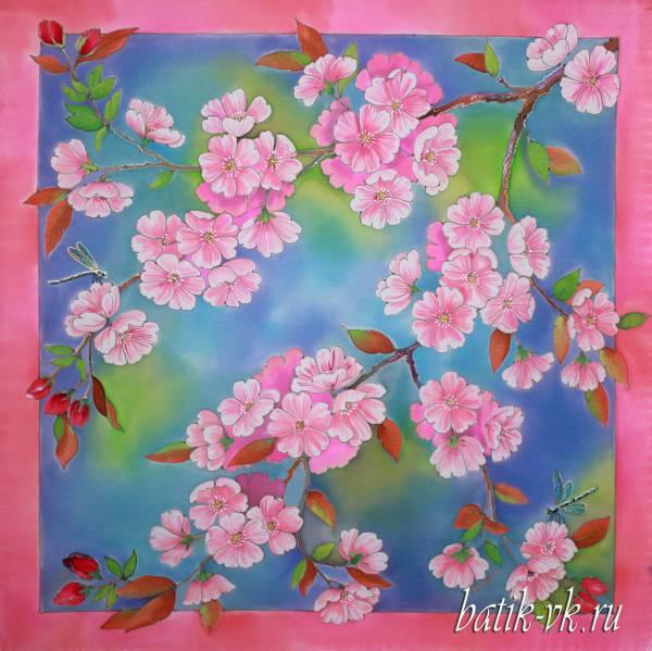 Батик платок «Весенний сон». Шелковый платок ручной работы.