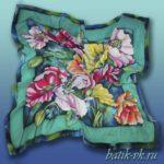 Батик платок «Праздничный». Шелковый платок ручной работы.