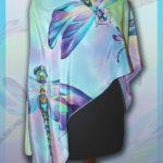Батик шарф «Стрекозы». Шелковый шарф ручной работы.